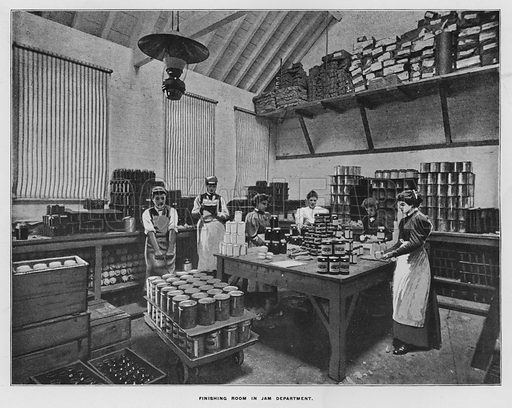 Finishing room in jam department. Illustration for Orchards and Gardens Ancient and Modern, with a description of the Orchards, Gardens, Model Farms and Factories owned by Mr William Whiteley, of Westbourne Grove, London, by Alfred Barnard (London, 1895).