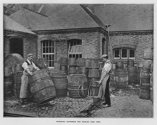 Repairing cooperage and packing case yard. Illustration for Orchards and Gardens Ancient and Modern, with a description of the Orchards, Gardens, Model Farms and Factories owned by Mr William Whiteley, of Westbourne Grove, London, by Alfred Barnard (London, 1895).