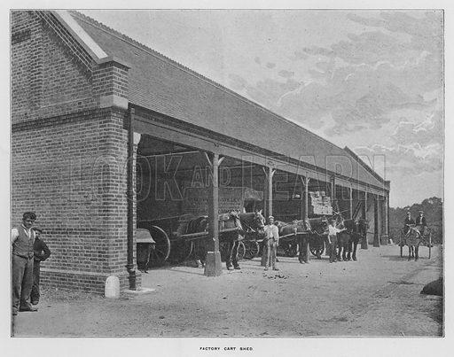 Factory cart shed. Illustration for Orchards and Gardens Ancient and Modern, with a description of the Orchards, Gardens, Model Farms and Factories owned by Mr William Whiteley, of Westbourne Grove, London, by Alfred Barnard (London, 1895).