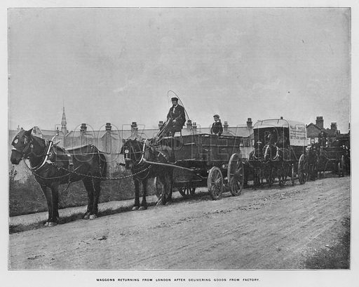 Waggons returning from London after delivering goods from factory. Illustration for Orchards and Gardens Ancient and Modern, with a description of the Orchards, Gardens, Model Farms and Factories owned by Mr William Whiteley, of Westbourne Grove, London, by Alfred Barnard (London, 1895).