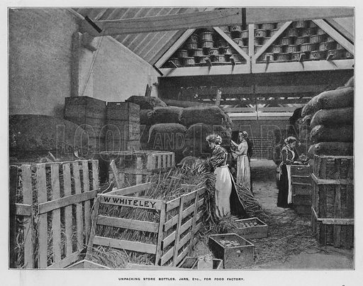 Unpacking store bottles, jars, etc, for food factory. Illustration for Orchards and Gardens Ancient and Modern, with a description of the Orchards, Gardens, Model Farms and Factories owned by Mr William Whiteley, of Westbourne Grove, London, by Alfred Barnard (London, 1895).