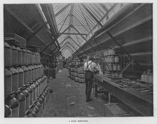 A store warehouse. Illustration for Orchards and Gardens Ancient and Modern, with a description of the Orchards, Gardens, Model Farms and Factories owned by Mr William Whiteley, of Westbourne Grove, London, by Alfred Barnard (London, 1895).