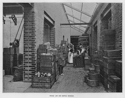 Pickle jar and bottle storage. Illustration for Orchards and Gardens Ancient and Modern, with a description of the Orchards, Gardens, Model Farms and Factories owned by Mr William Whiteley, of Westbourne Grove, London, by Alfred Barnard (London, 1895).