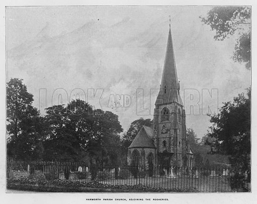 Hanworth Parish Church, adjoining the Rookeries. Illustration for Orchards and Gardens Ancient and Modern, with a description of the Orchards, Gardens, Model Farms and Factories owned by Mr William Whiteley, of Westbourne Grove, London, by Alfred Barnard (London, 1895).