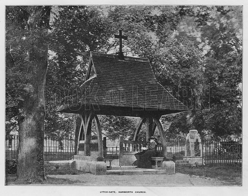 Lytch-Gate, Hanworth Church. Illustration for Orchards and Gardens Ancient and Modern, with a description of the Orchards, Gardens, Model Farms and Factories owned by Mr William Whiteley, of Westbourne Grove, London, by Alfred Barnard (London, 1895).
