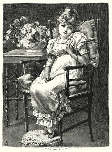 """I'm thinking."" Illustration for Our Picture Book (S W Partridge, c 1870)."