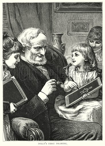 Dolly's first drawing. Illustration for Our Picture Book (S W Partridge, c 1870).