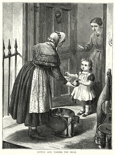 Little Ann taking the milk. Illustration for Our Picture Book (S W Partridge, c 1870).
