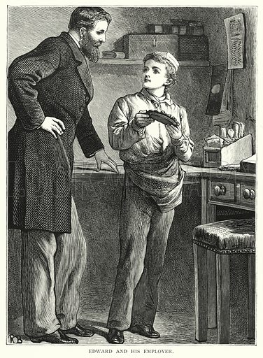 Edward and his employer. Illustration for Our Picture Book (S W Partridge, c 1870).