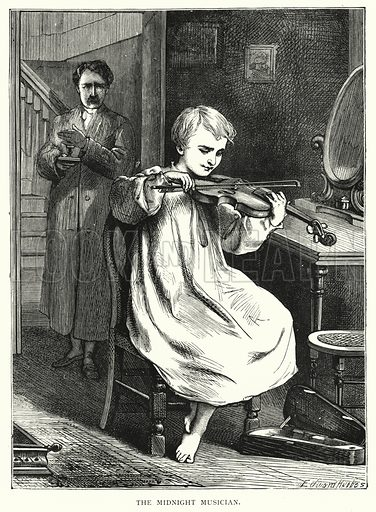The midnight musician. Illustration for Our Picture Book (S W Partridge, c 1870).