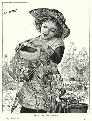 Annie and her garden. Illustration for Our Picture Book (S W Partridge, c 1870).
