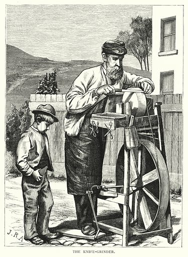 The knife-grinder. Illustration for Our Picture Book (S W Partridge, c 1870).