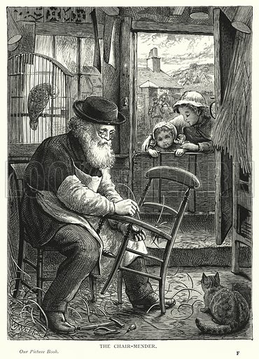 The chair-mender. Illustration for Our Picture Book (S W Partridge, c 1870).