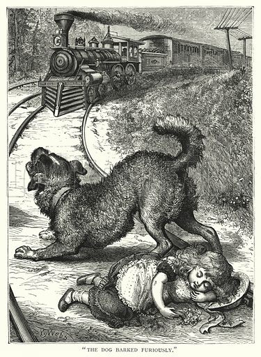 """""""The dog barked furiously."""" Illustration for Our Picture Book (S W Partridge, c 1870)."""