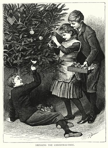 Dressing the Christmas-tree. Illustration for Our Picture Book (S W Partridge, c 1870).