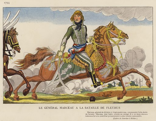 Le General Marceau A La Bataille De Fleurus, 1794. Illustration for Nos Soldats du Siecle by Caran D'Ache (E Plon, c 1900).