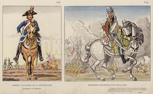 Grosse Cavalerie De La Republique, 1795; Hussards Chamboran En Hollande, 1795. Illustration for Nos Soldats du Siecle by Caran D'Ache (E Plon, c 1900).