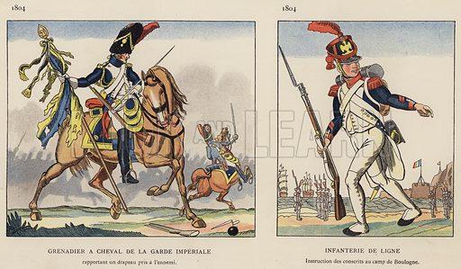Grenadier A Cheval De La Garde Imperiale, 1804; Infanterie De Ligne, 1804. Illustration for Nos Soldats du Siecle by Caran D'Ache (E Plon, c 1900).