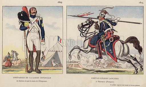 Grenadier De La Garde Imperiale, 1805; Chevau-Legers Lanciers, 1805. Illustration for Nos Soldats du Siecle by Caran D'Ache (E Plon, c 1900).