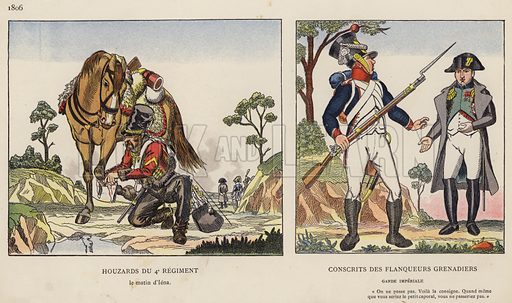 Houzards Du 4e Regiment, 1806; Conscrits Des Flanqueurs Grenadiers. Illustration for Nos Soldats du Siecle by Caran D'Ache (E Plon, c 1900).