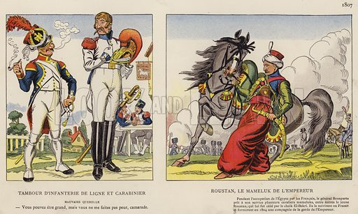 Tambour D'Infanterie De Ligne Et Carabinier; Roustan, Le Mameluk De L'Empereur, 1807. Illustration for Nos Soldats du Siecle by Caran D'Ache (E Plon, c 1900).