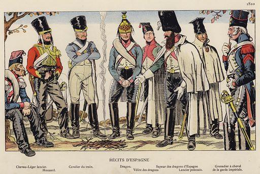 Recits D'Espagne, 1810. Illustration for Nos Soldats du Siecle by Caran D'Ache (E Plon, c 1900).