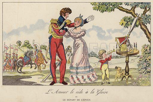 L'Amour le cede a la Gloire ou le Depart de L'Epoux. Illustration for Nos Soldats du Siecle by Caran D'Ache (E Plon, c 1900).