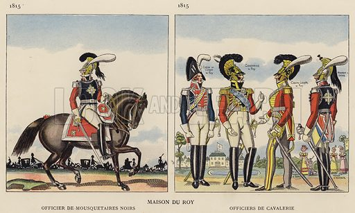 Maison Du Roy; Officier De Mousquetaires Noirs, 1815; Officiers De Cavalerie, 1815. Illustration for Nos Soldats du Siecle by Caran D'Ache (E Plon, c 1900).