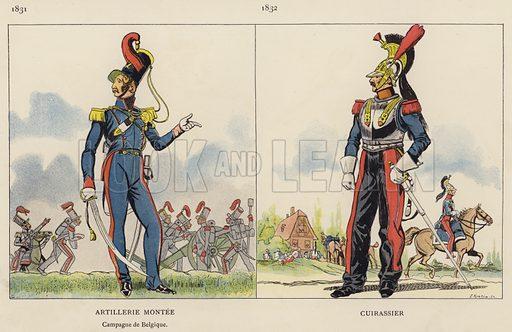 Artillerie Montee, 1831; Cuirassier, 1832. Illustration for Nos Soldats du Siecle by Caran D'Ache (E Plon, c 1900).