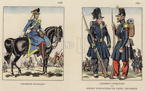 Chasseur D'Afrique, 1836; Chasseur D'Orleans Et Soldat D'Infanterie De Ligne, Voltigeur, 1840. Illustration for Nos Soldats du Siecle by Caran D'Ache (E Plon, c 1900).