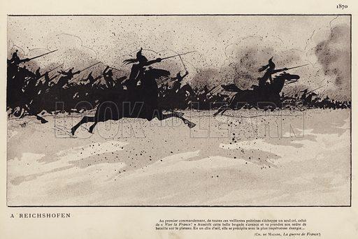 Les Cuirassiers A Reichshofen, 1870. Illustration for Nos Soldats du Siecle by Caran D'Ache (E Plon, c 1900).  Note: two adjacent images.