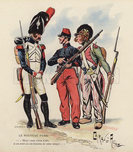 Le Nouveau Fusil. Illustration for Nos Soldats du Siecle by Caran D'Ache (E Plon, c 1900).