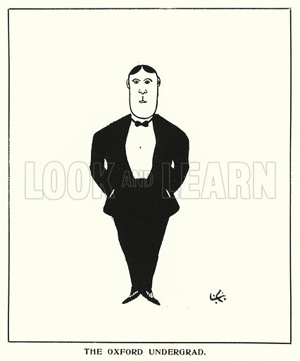The Oxford Undergrad. Illustration for Oxford Quips: By A Crank, written and illustrated by J G Bohun Lynch (Alden, c 1908).