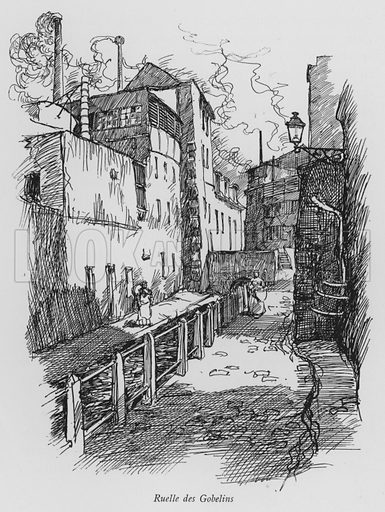 Ruelle des Gobelins. Illustration for Paris Vieuz et Neuf by Andre Billy with illustrations by Charles Huard (Eugene Rey, 1909).