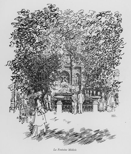 La Fontaine Medicis. Illustration for Paris Vieuz et Neuf by Andre Billy with illustrations by Charles Huard (Eugene Rey, 1909).