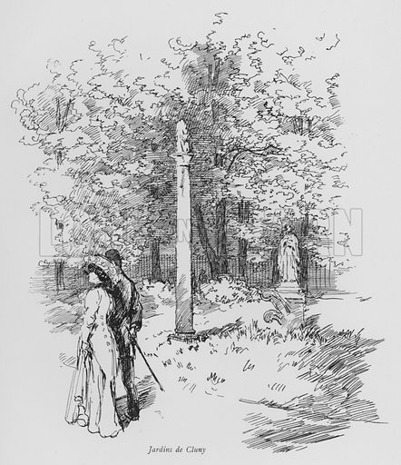 Jardins de Cluny. Illustration for Paris Vieuz et Neuf by Andre Billy with illustrations by Charles Huard (Eugene Rey, 1909).