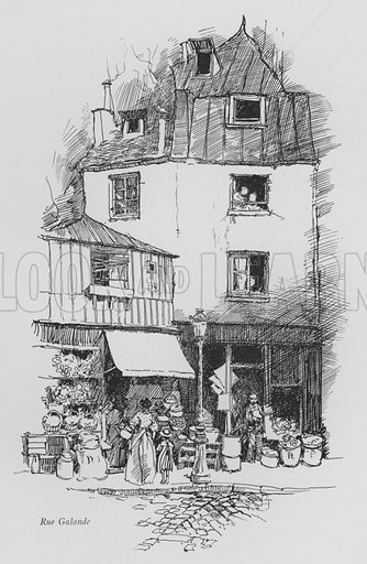 Rue Galande. Illustration for Paris Vieuz et Neuf by Andre Billy with illustrations by Charles Huard (Eugene Rey, 1909).
