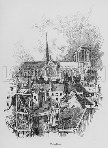 Notre-Dame. Illustration for Paris Vieuz et Neuf by Andre Billy with illustrations by Charles Huard (Eugene Rey, 1909).