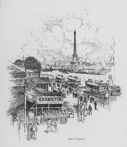 Quai d'Auteuil. Illustration for Paris Vieuz et Neuf by Andre Billy with illustrations by Charles Huard (Eugene Rey, 1909).