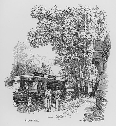 Le pont Royal. Illustration for Paris Vieuz et Neuf by Andre Billy with illustrations by Charles Huard (Eugene Rey, 1909).