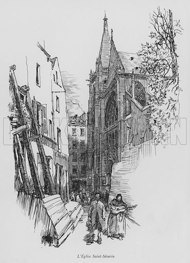 L'Eglise Saint-Severin. Illustration for Paris Vieuz et Neuf by Andre Billy with illustrations by Charles Huard (Eugene Rey, 1909).