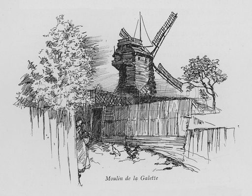 Moulin de la Galette. Illustration for Paris Vieuz et Neuf by Andre Billy with illustrations by Charles Huard (Eugene Rey, 1909).