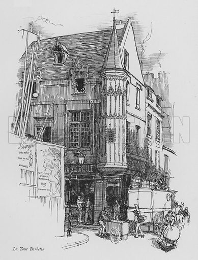La Tour Barbette. Illustration for Paris Vieuz et Neuf by Andre Billy with illustrations by Charles Huard (Eugene Rey, 1909).