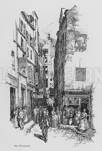 Rue Brisemiche. Illustration for Paris Vieuz et Neuf by Andre Billy with illustrations by Charles Huard (Eugene Rey, 1909).