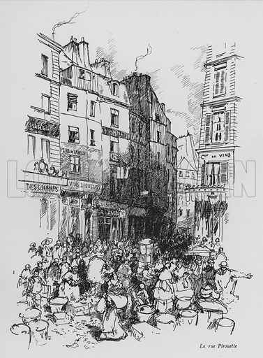 La rue Pirouette. Illustration for Paris Vieuz et Neuf by Andre Billy with illustrations by Charles Huard (Eugene Rey, 1909).
