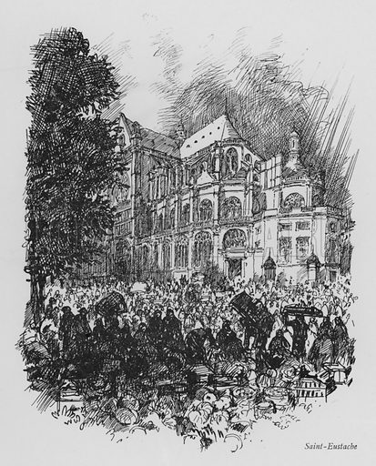 Saint-Eustache. Illustration for Paris Vieuz et Neuf by Andre Billy with illustrations by Charles Huard (Eugene Rey, 1909).