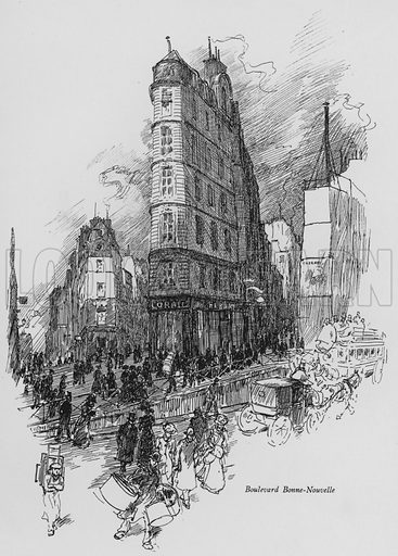 Boulevard Bonne-Nouvelle. Illustration for Paris Vieuz et Neuf by Andre Billy with illustrations by Charles Huard (Eugene Rey, 1909).