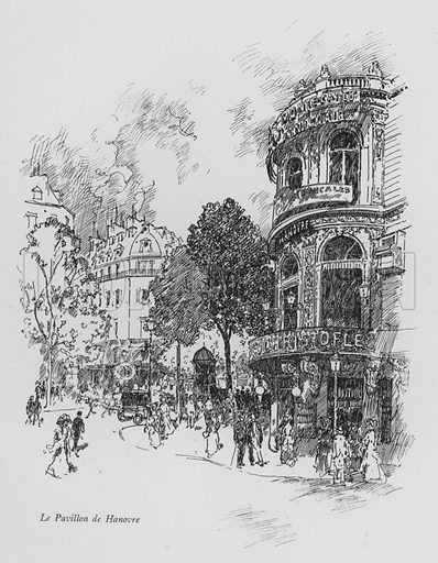 Le Pavillon de Hanovre. Illustration for Paris Vieuz et Neuf by Andre Billy with illustrations by Charles Huard (Eugene Rey, 1909).