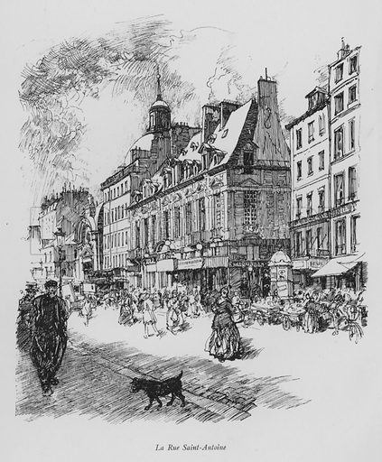 La Rue Saint-Antoine. Illustration for Paris Vieuz et Neuf by Andre Billy with illustrations by Charles Huard (Eugene Rey, 1909).