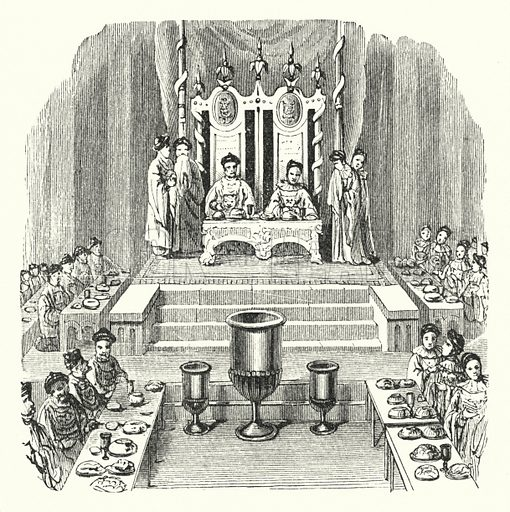 A state dinner. Illustration for Our Parlour Panorama by Mrs George Cupples (T Nelson, 1882).